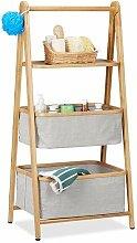 Relaxdays Klappregal Bambus mit 3 Ebenen, Ablage &