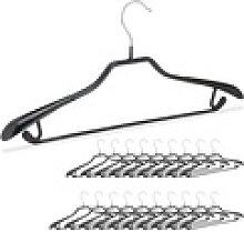relaxdays Kleiderbügel 20 x schwarze Anzugbügel