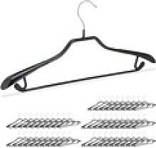relaxdays Kleiderbügel 50 x schwarze Anzugbügel