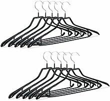 Relaxdays Kleiderbügel für Anzüge, 10er Set, Anzugbügel, gummiert aus Metall, rutschfest, platzsparend, 45 cm, schwarz