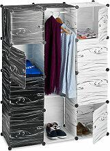 Relaxdays - Kleiderschrank schwarz weiß,