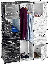 Relaxdays Kleiderschrank schwarz weiß, Garderobe