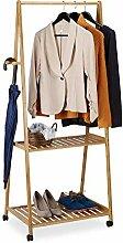Relaxdays Kleiderständer auf Rollen, 2 Ablagen, 4