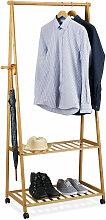 Relaxdays - Kleiderständer auf Rollen, Bambus, 2
