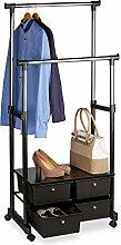 Relaxdays Kleiderständer auf Rollen, stabil, 4
