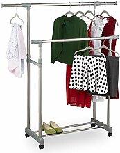 Relaxdays Kleiderständer mit 2 Kleiderstangen,
