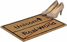 Relaxdays Kokosmatte Real World, lustige