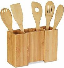 Relaxdays Küchenutensilienhalter aus Bambus, 5er