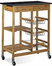 Relaxdays Küchenwagen Bambus ALFRED XL mit