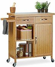 Relaxdays Küchenwagen Holz, Bambus, 4 Rollen,