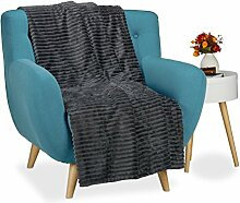 Relaxdays Kuscheldecke groß, Tagesdecke 150 x 200 cm, Wohndecke warm, Sofadecke flauschig, Sofaüberwurf uni, anthrazi