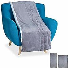 Relaxdays Kuscheldecke XXL, Flauschige Decke,