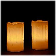 Relaxdays LED Kerzen Echtwachs Set, 2 elektrische