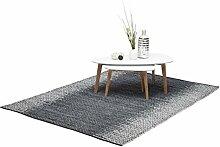 Relaxdays Lederteppich grau, handgewebter und robuster Wohnzimmerteppich mit Rauten Muster, 160 x 230 cm, mehrfarbig