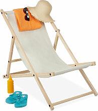 Relaxdays - Liegestuhl Holz, Holz Strandliege mit