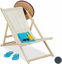 Relaxdays Liegestuhl Holz, Holz Strandliege mit