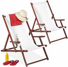 Relaxdays Liegestuhl Holz Stoff, 2er Set,