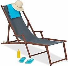 Relaxdays Liegestuhl Holz Stoff, 3