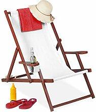 Relaxdays Liegestuhl Holz Stoff, klappbar, 3