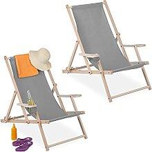 Relaxdays Liegestuhl klappbar, 2er Set, Holz &