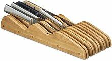 Relaxdays Messerblock aus Bambus, 9 Messer, für