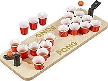 Relaxdays Mini Beer Pong, Trinkspiel Set, 25 rote