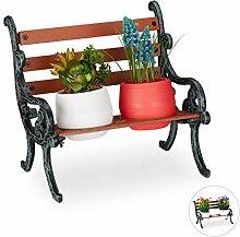 Relaxdays Mini Blumenbank, Gusseisen & Holz,