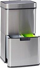 Relaxdays Mülltrennsystem 3 fach, mit Sensor, 60 L, 3 Mülleimer, ausziehbar, Edelstahl, HBT: 74,5 x 42 x 31,5 cm, silber