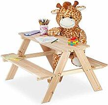 Relaxdays, natur Kindersitzgruppe Holz,