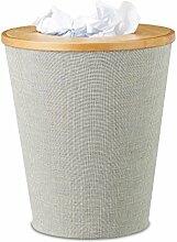 Relaxdays Papierkorb Bambus, runder Abfallkorb mit
