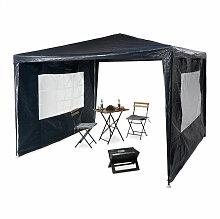 Relaxdays - Pavillon 3x3 m, 2 Seitenteile, Metall
