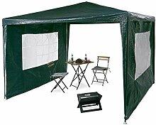 Relaxdays Pavillon 3x3 m, 2 Seitenteile, Metall