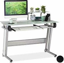 Relaxdays PC Schreibtisch, Glas, Tastaturauszug
