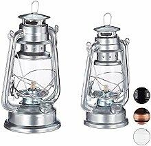 Relaxdays Petroleumlampe 2er Set, echte Öllampe