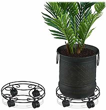 Relaxdays Pflanzenroller, 2er Set, rund, innen &
