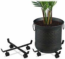 Relaxdays Pflanzenroller ausziehbar, 2er Set,