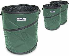 Relaxdays Pop Up-Gartensack 3er Set 76 Liter, stabil, faltbar, für Abfall, Gras, Kompost, Laubtasche mit 3 Griffen, Stützstreben, grün
