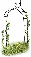 Relaxdays Rankbogen Metall geschwungen 240 cm, royaler Rosenbogen mit Spitze, Rankhilfe und Gartendeko f. Draußen, grün