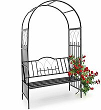 Relaxdays Rosenbogen mit Bank HBT 203 x 114,5 x 59 cm Rankgitter aus pulverbeschichtetem Eisen mit Sitzbank für 2 Personen und schöner Verzierung Rankhilfe für Rosen & Kletterpflanzen, schwarz,10020032