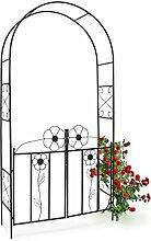 Relaxdays Rosenbogen mit Tor HBT 228 x 116 x 36,5 cm Torbogen aus pulverbeschichtetem Stahl mit schöner Verzierung und Tür-Flügeln Rankgitter und Rankhilfe für Rosen & Kletterpflanzen, schwarz,10020031