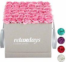Relaxdays Rosenbox eckig, 49 Rosen, stabile