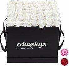Relaxdays Rosenbox eckig 49 Rosen, stabile