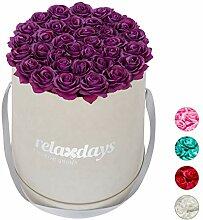 Relaxdays Rosenbox rund, 34 Rosen, stabile