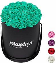 Relaxdays Rosenbox rund 34 Rosen, stabile