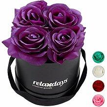 Relaxdays Rosenbox rund, 4 Rosen, stabile