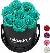 Relaxdays Rosenbox rund, 8 Rosen, stabile