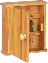 Relaxdays Schlüsselkasten Bambus-Holz, 6 Haken,