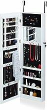 Relaxdays Schmuckschrank mit Spiegel, Schmuckkasten hängend für Tür, Schmuck Spiegelschrank, HxBxT: 120x36,5x10cm, weiß