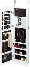 Relaxdays Schmuckschrank mit Spiegel, Spiegelschrank hängend für Tür, Aufbewahrung Ohrringe, HxBxT 124x36,5x10 cm, weiß