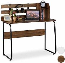 Relaxdays Schreibtisch, 2 Fächer, Rückwand,